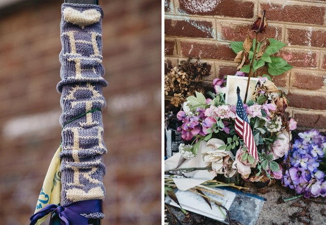 Parts of a memorial for Heather Heyer. Susan Bro started a foundation after she was killed during the rally.