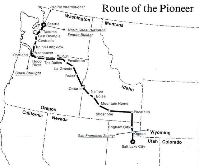 Map of the Amtrak Pioneer route from 1977.