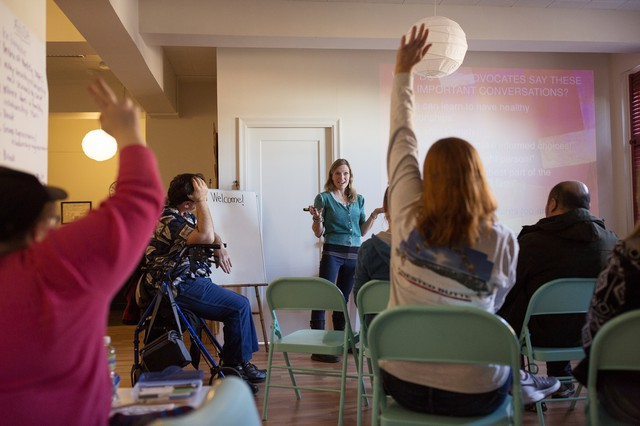 Katy Park, who runs arts and wellness programs for Momentum — a community service program for people with intellectual disabilities — starts a class on healthy sexuality by asking her students to define what they want in a relationship.