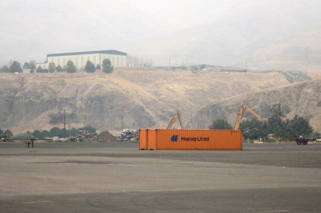 The container yard at the Port of Lewiston, Idaho is virtually empty. Last year at this time there were 250 containers here, ready to carry farmer's crops down the Snake and Columbia Rivers to the Port of Portland and onto Asia and South America.