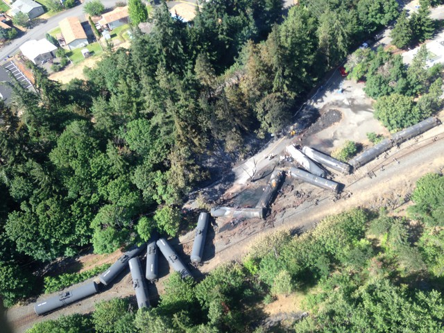 An overhead shot of the wreckage from an oil train derailment and fire in Mosier, Ore., on June 4, 2016, the morning after the crash.