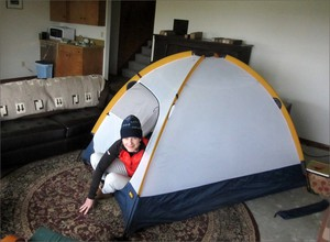 Pitching a tent indoors may seem weird, but after an earthquake your body heat could make it warmer in there than in a larger, unheated room.