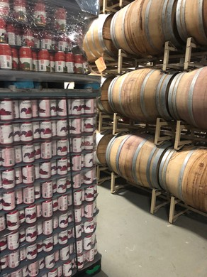 Pallets of 14 Hands canned wines are ready to ship at Columbia Crest winery near Paterson, Wash.