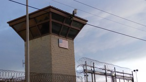 The main gate of the prison at the U.S. naval base at Guantánamo Bay, Cuba, on Oct. 16, 2018.