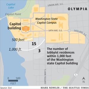 Nearly one-third of the 62 homes found immediately south of the Capitol are owned or used by lobbyists, corporations or unions, according to a review of public records.
