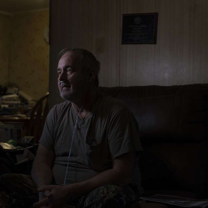 Greg Kelly at home in Delphia, Ky. A former coal miner, Kelly has an advanced stage of black lung disease known as complicated black lung or progressive massive fibrosis.