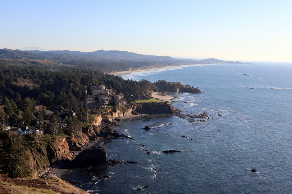 Otter Rock, offshore at upper right, is where one of the last wild Oregon sea otters was killed by a hunter more than a century ago.