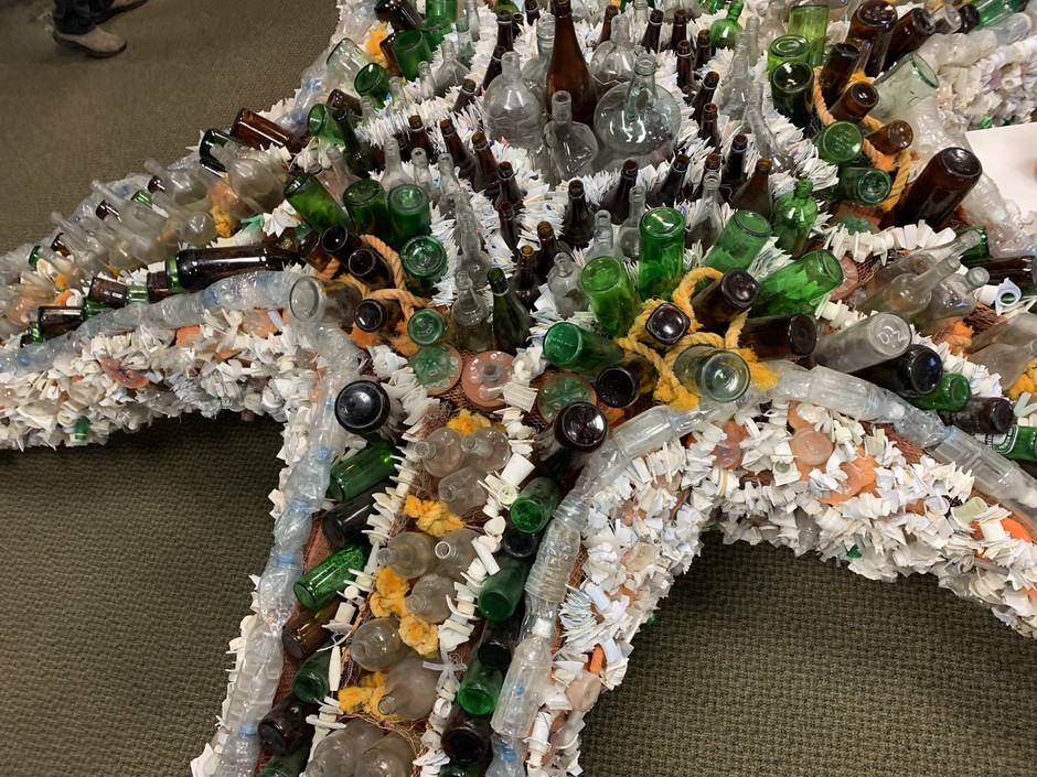 A sea star made mostly of plastic water bottles from the 2008 Summer Olympics in China that are still washing up on Oregon beaches today.