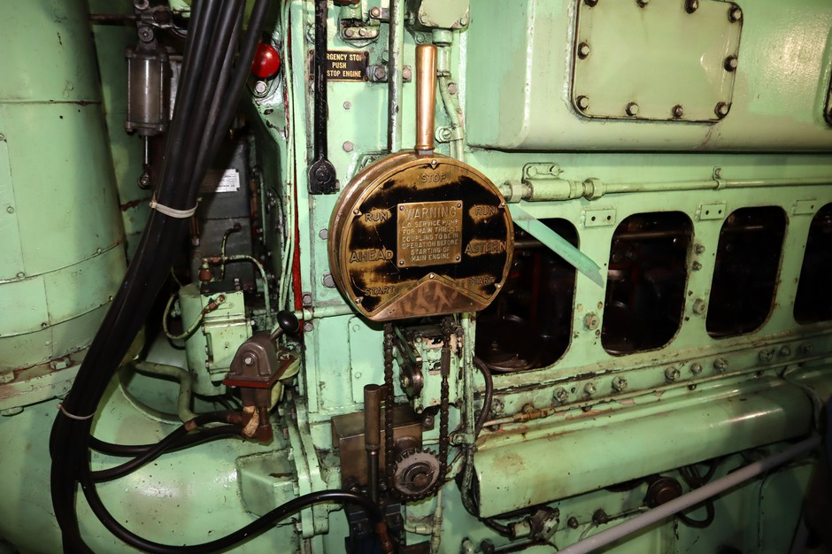 The ship's machinery is a mix of new and old spanning more than seven decades. This is one of the main engines.