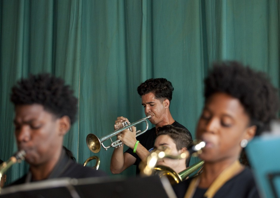 Cuban musicians from the Trombone Shorty Foundation play at the Amadeo Roldan Conservatory.