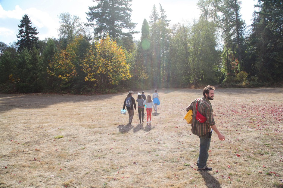 "Outdoor School educator ""Munk"" leads students on a science learning activity at the Canby Grove site near Canby, Ore."