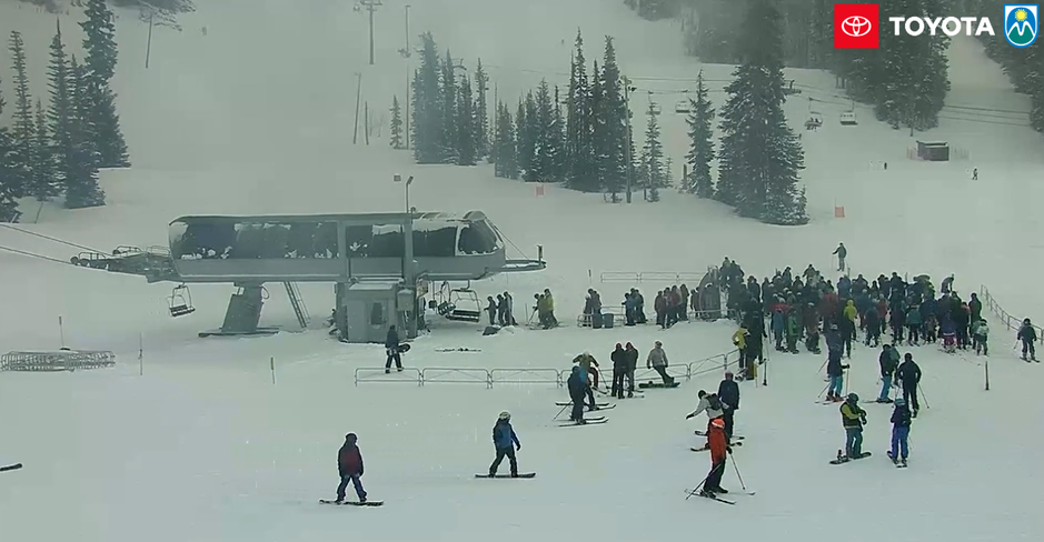 A screenshot taken the morning of Sunday, March 15, 2020 from a livestream video of skiers at Mt. Hood Meadows on Oregon's Mount Hood.