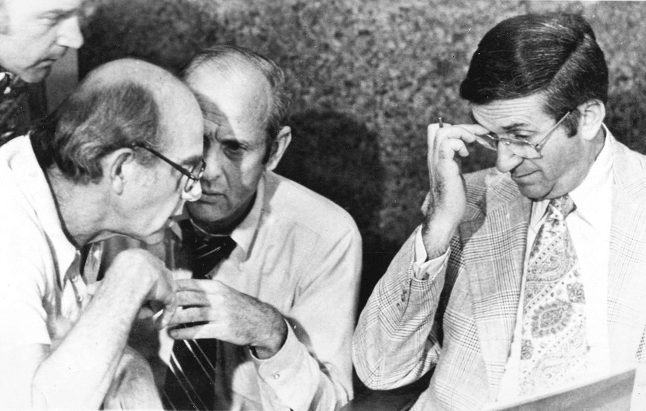 In 1977, meeting in the Trail Blazers' headquarters in Portland are, from left: coach Jack Ramsay, director of player personnel Stu Inman and owner Larry Weinberg.