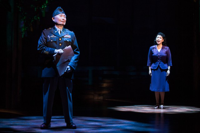 "George Takei and Lea Salonga in a scene from ""Allegiance,"" a Broadway musical co-written by former Portlander Marc Acito."