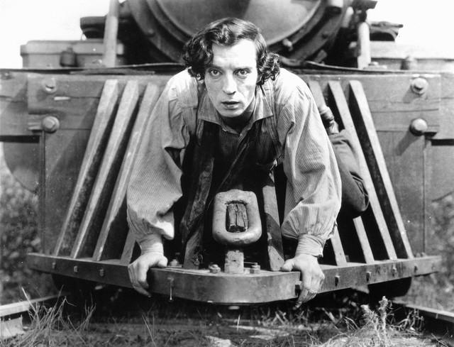 "Buster Keaton stars as Johnny Gray in his 1926 silent film ""The General,"" which was filmed in Cottage Grove, Oregon. To celebrate its 90th birthday, the Hollywood Theatre has commissioned an original live score to tour the state."
