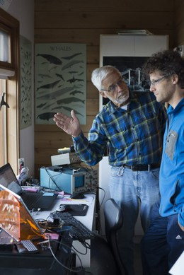 Val Veirs, left, discusses a vessel noise study with his son, Scott Veirs.