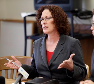 In this 2016 file photo, former Oregon Rep. Val Hoyle announced her campaign for Oregon secretary of state.