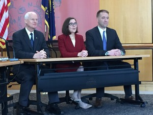 Oregon Secretary of State Dennis Richardson, left, Gov. Kate Brown, and Oregon Treasurer Tobias Read make up Oregon's State Land Board.
