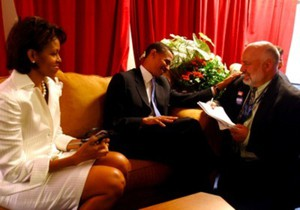 Kevin Lampe, right, with Barack and Michelle Obama backstage at the 2004 Democratic National Convention.