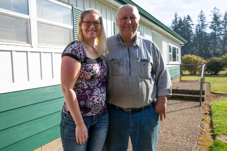 Jessica Yandell and Tracy Smouse outside the office of Emerald Valley Thinning in Philomath, Ore., on Nov. 7, 2019. The structure of the new business tax concerns them since it applies to revenue, not profit.