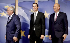 Senior Advisor to the President of the United States Jared Kushner, center, and US Ambassador to the EU Gordon Sondland, right, meet with European Commission President Jean-Claude Juncker at EU headquarters in Brussels, Tuesday, June 4, 2019.