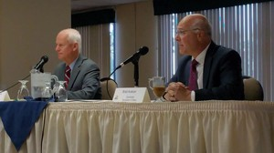State Labor Commissioner Brad Avakian (right) and former Oregon Representative Dennis Richardson (R-Central Point) appear at the North Clackamas Chamber of Commerce candidates' forum in their race for Oregon Secretary of State on Sept. 29, 2016.