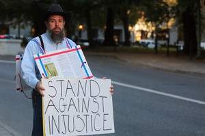 John Lamb of Bozeman, Montana, stands outside the federal courthouse in downtown Portland Tuesday. Sept. 16, 2016.
