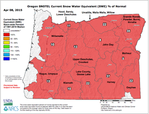 The snow water equivalent percent of normal represents the current snow water equivalent found at selected SNOTEL sites in or near the basin compared to the average value for those sites on this day. Data based on first reading of the day.
