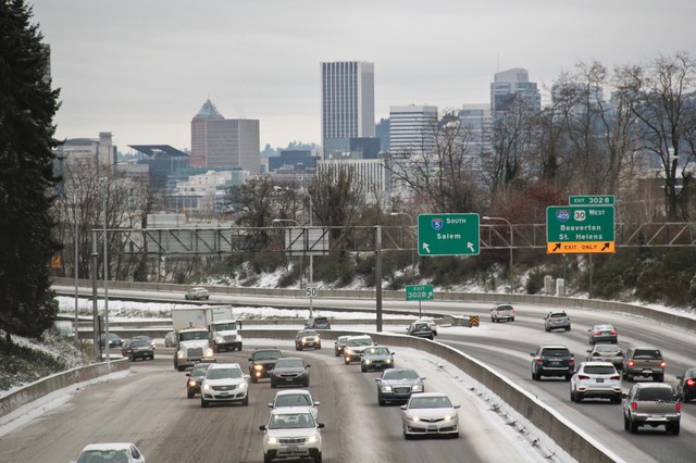Drivers navigate an icy Interstate 5 the day have a strong storm dumped between 1 to 3 inches in the Portland area, Dec. 15, 2016