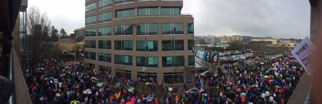 Thousands of people marched from the federal courthouse in Eugene to Wow Hall as part of the local offshot of the Women's March, Saturday, Jan. 21, 2017.