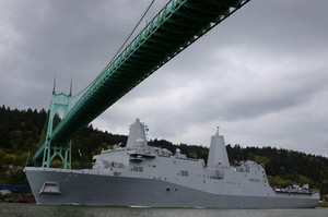 The USS Portland sails along the Columbia River underneath the St. Johns Bridge shortly after 3 p.m. on Saturday, April 14.
