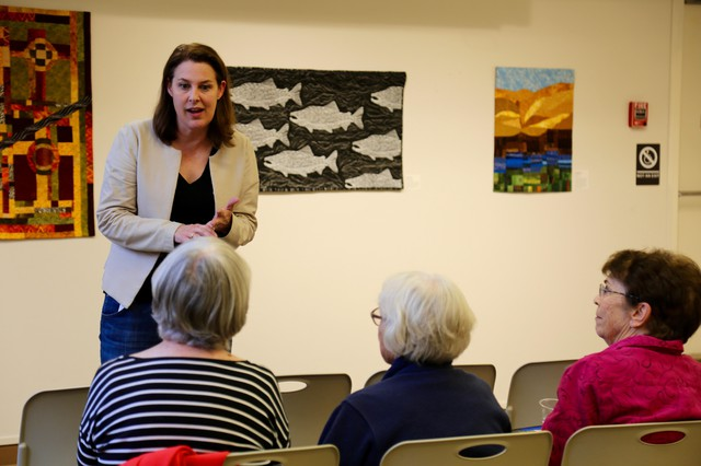 Democrat Carolyn Long speaks at a town hall in Stevenson, Washington. Long is hoping to unseat incumbent Rep. Jaime Herrera Beutler.