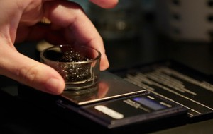 Sturgeon caviar is measured on a gram scale at Kachka in Portland.
