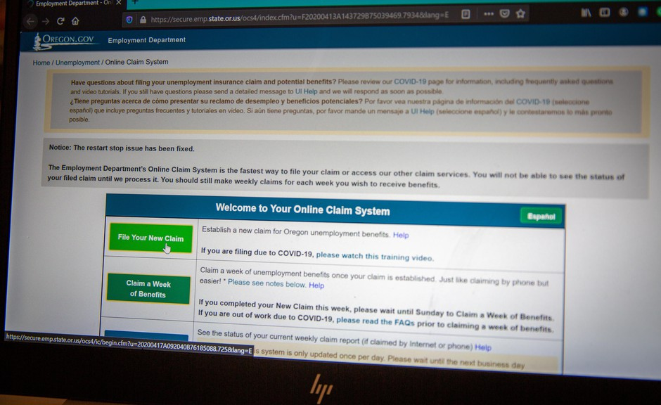 The Oregon Employment Department's Unemployment Insurance online claim system, pictured on Friday, April 17, 2020.