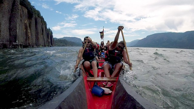 Members of the Portland All Nations Canoe Family round Cape Horn as they pull the fifth leg of their week-long Canoe Journey along the Lower Columbia River in July, 2018.
