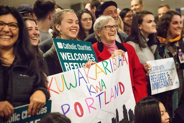 """""""We definitely have a long history as a state of welcoming refugees and helping them rebuild their lives and make their homes here,"""" Matthew Westerbeck,of the resettlement group Catholic Charities, said of Oregon."""