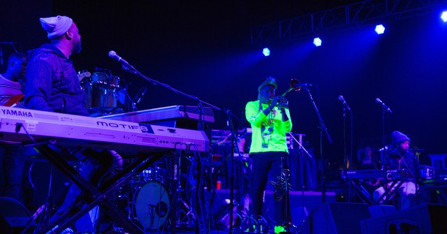 The jazz supergroup R+R = Now made its live debut at the Arlene Schnitzer Concert Hall Wednesday, April 18, 2018, as the opening act for neo-soul legend Erykah Badu's show.