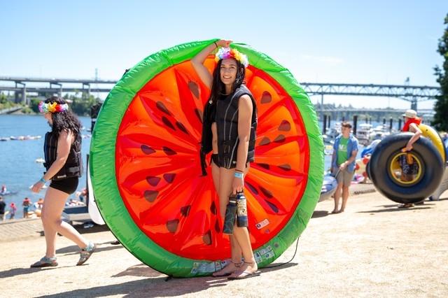 McKenzie Webster from Eugene, Ore.andher watermelon raft.