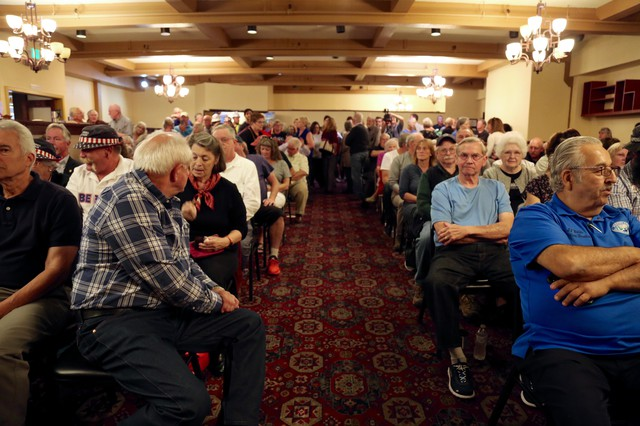 Constituents pack in to watch a debate between Rep. Jaime Herrera Beutler and Carolyn Long.