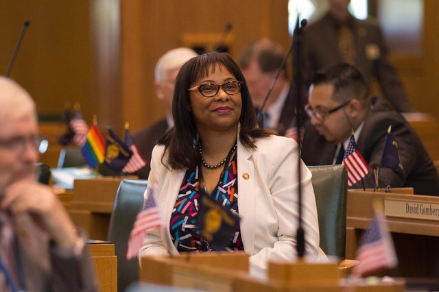Rep. Janelle Bynum, D-Clackamas, attends an Oregon House session on Monday, April 29, 2019, in Salem.