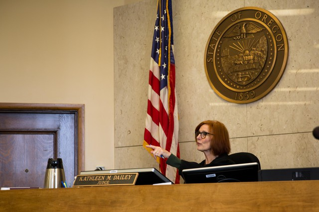 Multnomah County Circuit Court Judge Kathleen Dailey presides during a hearing in her seventh-floor courtroom at Multnomah County Courthouse in Portland, Ore., Friday, May 17, 2019. Dailey oversees treatment court, a program for nonviolent offenders with drug-related arrests.