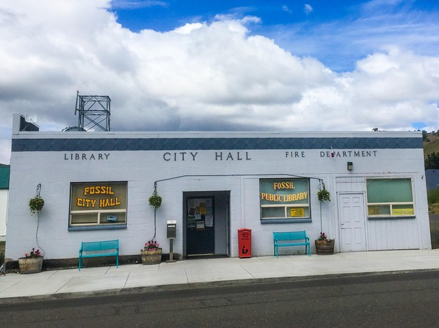 In Fossil, Oregon — a town of fewer than 500 residents — one building serves as the home for the library, fire department and city hall.