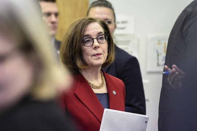 Oregon Gov. Katie Brown held a press conference in Portland, Oregon, on March 12, 2020, to give an update on the spread of COVID-19 in Oregon.