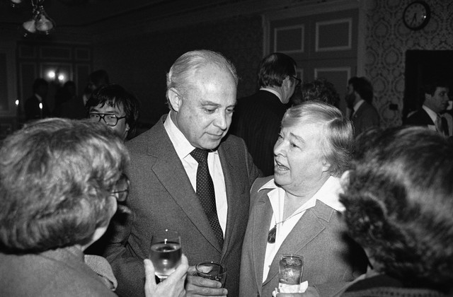 Robert Strauss, campaign chairman for President Jimmy Carter, listens to Washington Gov. Dixy Lee Ray at a Democratic fund raising reception in afternoon on Thursday, Feb. 7, 1980 in Seattle.