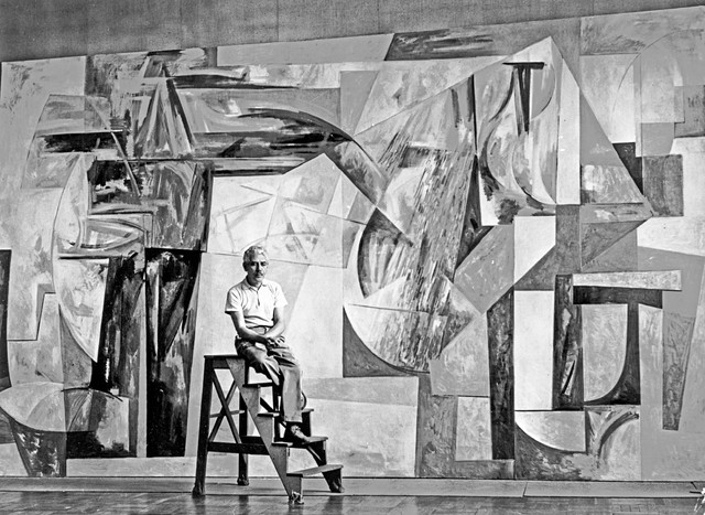 Louis Bunce poses with his controversial mural for the Portland International Airport, 1958. OHS #bb003369