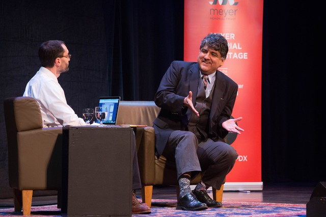 "Sherman Alexie speaks with OPB ""Think Out Loud"" Host Dave Miller at Wordstock at Arlene Schnitzer Concert Hall in Portland, Oregon, Saturday, Nov. 5, 2016."