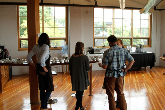 The Cup of Excellence office space doubles as a roasting and cupping venue.