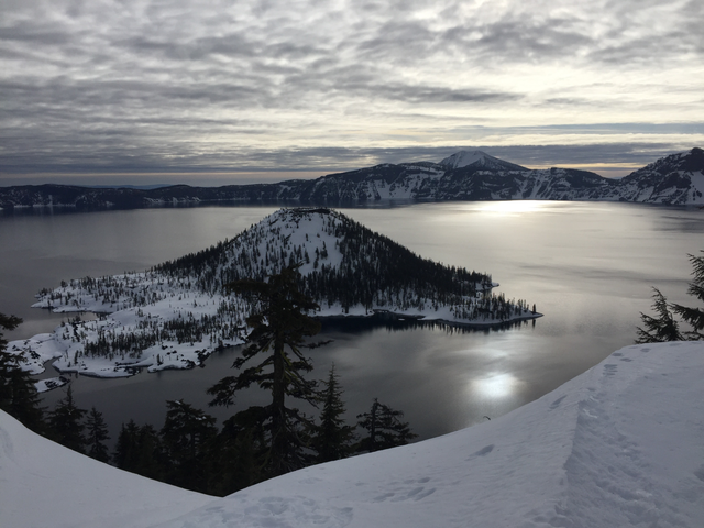 Crater Lake in the winter months.