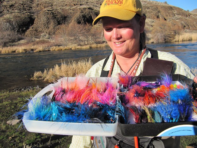 Amy Hazel shows off some of her flies.