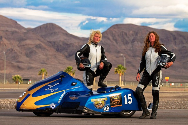 """""""Steady Betty"""" Herlocker and Kendra """"Red Fury"""" McDonald are the only all-women sidecar racing team in the country."""